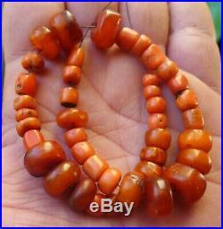 14mm Perle Ambre Corail Ancien Maroc Berbere Bijou Collier Antique Amber Beads