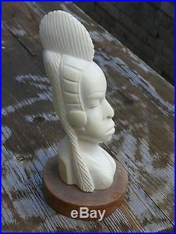 AFRIQUE COTE D IVOIRE IVORY COAST TETE AFRICAINE SCULPTée COULEUR BEIGE IVOIRE