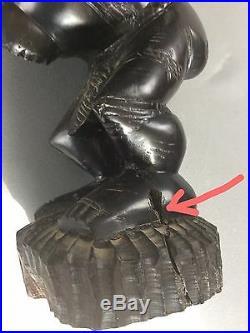 ART AFRICAIN STATUETTE CONGO FETICHE SORCIER TETE DE CHIEN EN ÉBÈNE 48 cm -4 kg