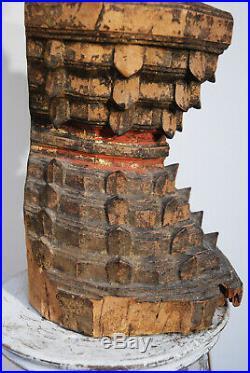 Ancien Bouddha Shan 19 eme siécle Bhaishajyaguru Myanmar statue Bois Buddha