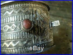Ancien Bracelet Bijoux Berbère Argent Corail Afrique Ethnique