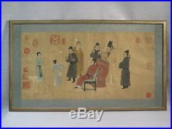 Ancien Dessin Gouache Peinture Papier Decor Personnages Cachets Rouge Chinois