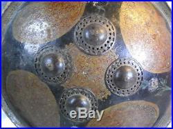 Ancien Rare Bouclier Ethnique Cuir Acier Forge Islamic Perse Ottoman Inde Shield