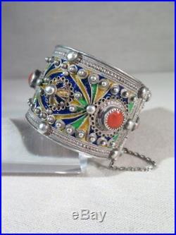 Ancien Superbe Bracelet Berbere En Argent Massif Cabochon Corail Email