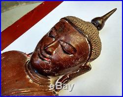 Ancien grand Bouddha Shan en bois laqué dorures 18e