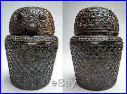 Ancienne boîte zoomorphe hibou chouette bois laqué Birmanie 19e