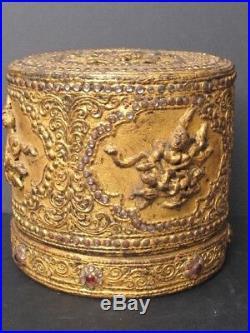 Antique Boîte en Bambou laqué et reliefs Birmanie