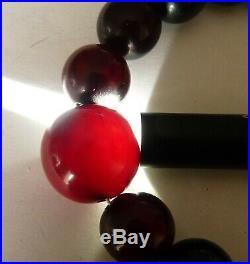 Antique Dark Amber Red Cherry Bakelite Faturan Beads Necklace Collier Ancien 81g
