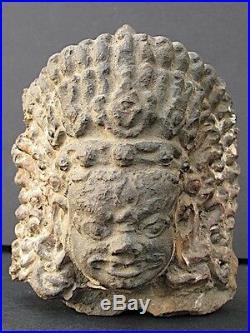 Antique Tête de Mahakala en Terre cuite du NEPAL