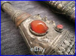 Antique Yemeni Dagger Jambiya Khanjar India buffalo horn silver gold ruby 1916