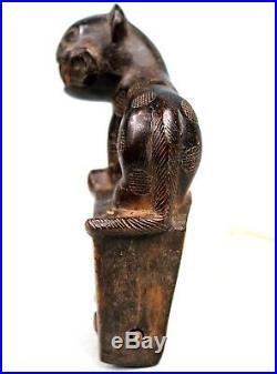 Art Africain Ancien Etrier de Poulie Baoulé Heddle Pulley Lion 14,2 Cms
