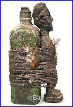 Art Africain Ancienne Pièce d'Adoration Fon Fétiche & Bouteille 25,5 Cms