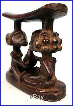 Art Africain Arts Premiers- Superbe Appui Nuque à Caryatides Luba 19 Cms +++++
