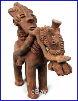 Art Africain Ethnographique Cavalier en Terre Cuite Djenné Mali 25 Cms +++