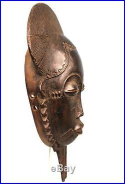 Art Africain Masque Baoulé à Poignée Traces d'usures African Mask 35 Cms