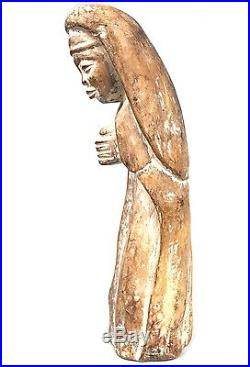Art Africain Statue en Bois Ancienne Vierge Baoulé 38 Cms Charme +++++++