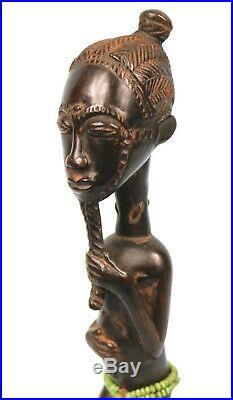 Art Africain Superbe Asie Usu Baoulé Sculpture aux Détails TOP 30 Cms ++++++