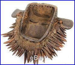 Art Africain Tribal Rare Masque Guéré Phacochère Ornements en Os 36 Cms ++