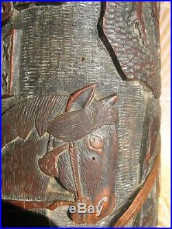 BITONG japonais19 Samurai Warrior Grand Bambou sculpté Brush Pots à pinceaux