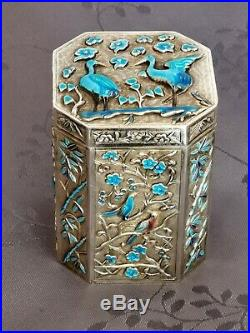 Boite A The Chine Argent Massif Chinese Export Silver Enamel Box Tea Caddy
