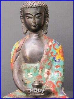 Bouddha Méditation en bronze cloisonné, Chine