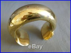 Bracelet Ancien Jonc Manchette Laiton Doré Bronze Esclave Homme Slave Bangle