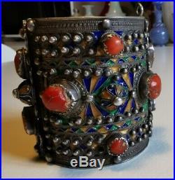 Bracelet Ethnique Berbère Kabyle en Argent, Corail Et émail XIX ème