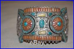 Bracelet ethnique en argent turquoise et corail inde Tibet