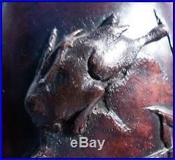 Brûle-Parfum Chinois Bronze Ciselé Dynastie Qing Chien de Foo Lièvres & Oiseaux