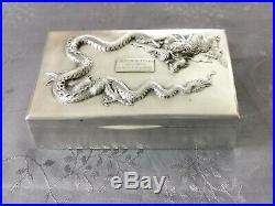 CHINESE EXPORT SILVER BOX DRAGON 489g. BOITE ARGENT MASSIF CHINE