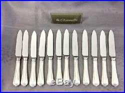 CHRISTOFLE SPATOURS 12 COUTEAUX DESSERT FROMAGE LAME INOX 18.2cm