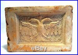 Carreau Renaissance En Terre Cuite Aigle- Dated 1596 Ancient Medieval Tile Eagle