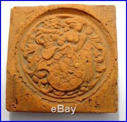 Carreau Renaissance En Terre Cuite Coat Of Arms 16° S Ancient Medieval Tile