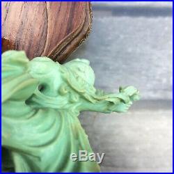 Chine Sculpture. Turquoise Jeune Chinoise Et Enfant Jouant Xxé