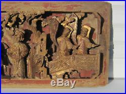 ChineSculpture bois XIXe-Promenade Dignitaires et Sages- Laque Rouge & Or