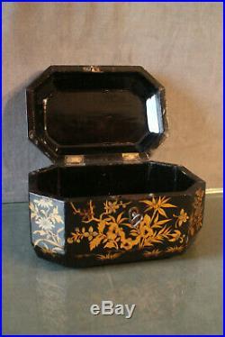 Coffret à décor doré à la pagode sur fond laqué noir Extrême-Orient Chine 19e