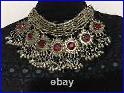 Collier antique tribal YEMEN, bijou ethnique aliage argent, Yemeni necklace