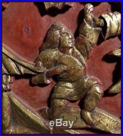 Combat de Guerriers Mongoles avec Des Monstres Chine XIXe Sculptures Chinoises