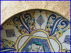 Enorme! 46cm D. Rare plat signé. Maroc! Nabeul maghreb. Tunisie afrique berbere
