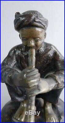 Fumeur pipe opium bronze indochinois Vietnam Indochine Tonkin Hanoi Asie