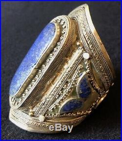 Grand Bracelet Manchette 9,9 cm Afghan Turkmen Kuchi Afghanistan Lapis Lazuli