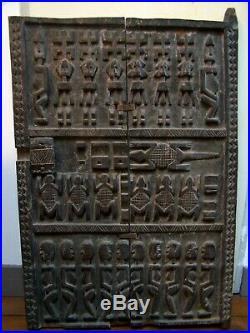 Grande Porte / Volet Dogon Grenier A MIL (mali) Bois Sculpte 88.5 X 59 CM