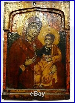 Icone Grecque La Mere De Dieu Tempera Sur Bois 19° S. Greek Painted Icon