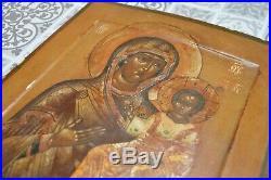 Icône russe ancienne Vierge de Smolensk XIXème