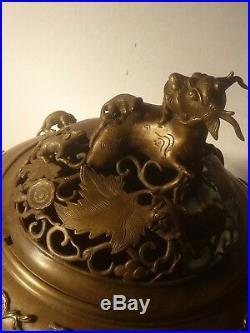 Important brûle parfum en bronze sculpté Vietnam 15 kgs100