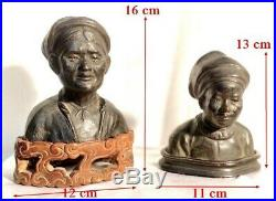 Indochine 2 Bustes Statues Indochinoises en Bronze Couple Indochine sur Socle