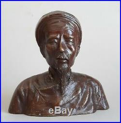 Indochine Ancien bronze Buste Vieux Annamite Vietnam Tonkin Annam Hanoi Hué Asie