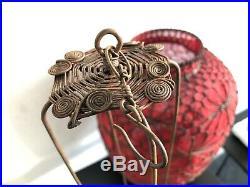 Lanterne rouge chinoise ancienne métal et tissu Fin XXe Siècle 35 cm Antique