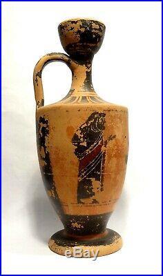 Lecythe Grec A Figures Noires 500 Bc Ancient Greek Black Figure Lekythos