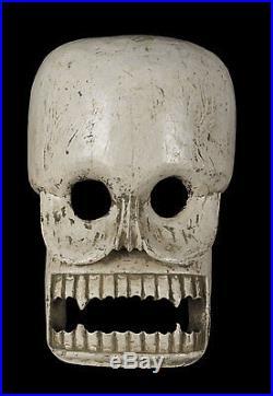 Masque Citipati Tête de mort Bois peint Himalaya-Ceremoniel Chamane 9949